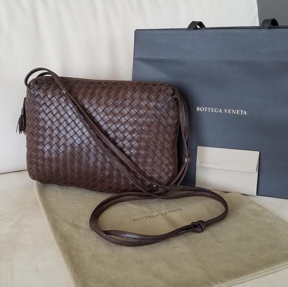 45ab0a969d Bottega Veneta Handbags - Bottega Veneta Intrecciato Brown Woven Crossbody